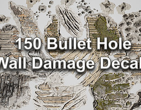 3D model PBR 150 Bullet Hole Wall Damage Decals
