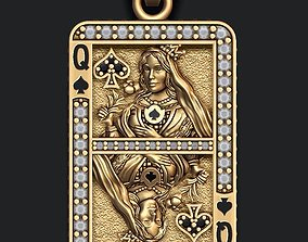 Spade queen playing card pendant 3D printable model