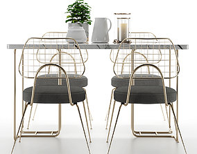3D model Modern dining table and chair furniture set