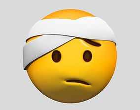 3D model face Emoji Face with Head-Bandage