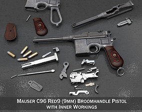 Mauser C96 Broomhandle - M1916 - Red 9 3D model