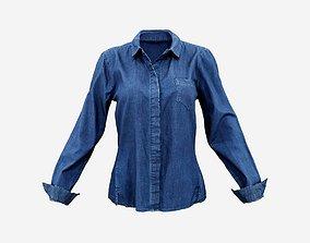 3D asset Blue Jeans Shirt Chest Pocket