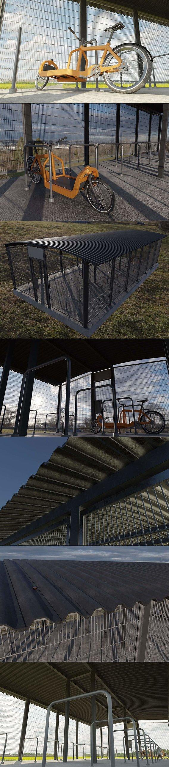 Lockable Bicycle Shelter (WIP-1) (Blender-2.92 Eevee)