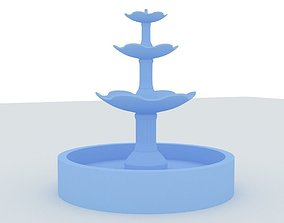 Round Fountain with Four Bowls 3D printable model