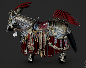 Gorgeous armored warhorse of Medieval cavalry 3D asset