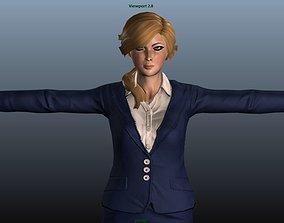 Female Airhostess 3D asset