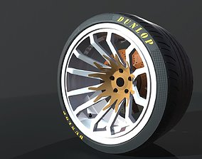 3D model Wheel for supercars with Dunlop tire