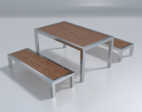 3D asset Outdoor Bench - PBR Photorealistic