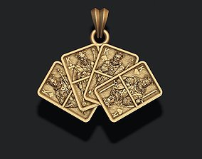Pair of Kings playing cards pendant 3D print model