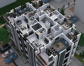 Aerial view of appartment 3D model