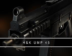 3D model UMP 45 Submachine gun VR AR Gameready