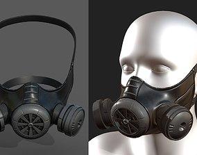 realtime Gas mask helmet 3d model military 2