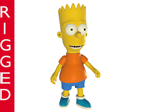 Bart Simpson 3D model rigged cartoon character rigged