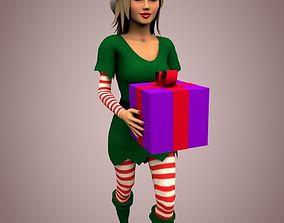 Christmas elf girl 3D model