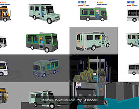 3D lorry Minibus Collection Low Poly