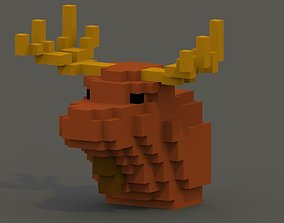 VR / AR ready Moose Head Voxel Model