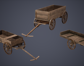 3D model Carts Set Low Poly Game Ready