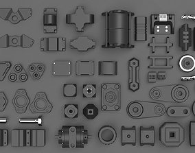 Hard Surface Sci-Fi Industrial KitBash Library 03 3D model
