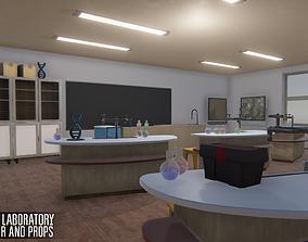 School laboratory - interior and props 3D asset