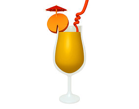 Cocktail cartoon 3D model