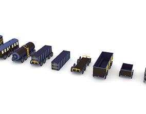 Low-Poly Cartoon Train Pack 3D model
