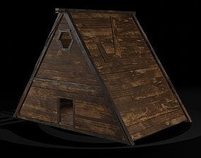 3D model AAA Wooden Enterable Medieval Primal Thatched 4