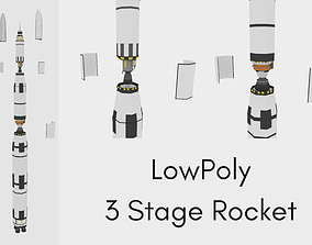 LowPoly Three Stage Rocket 3D asset