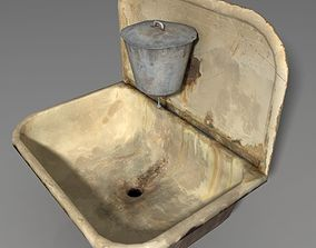 3D model low-poly very old sink