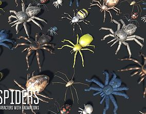 Spiders - characters with animations 3D asset