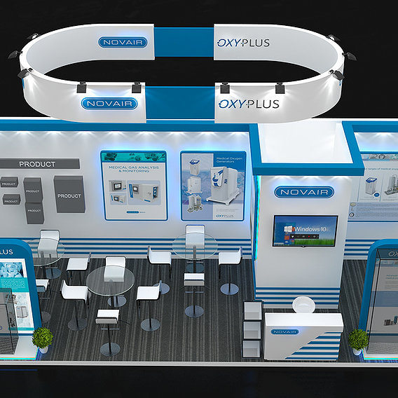 3 side open Exhibiton Stall Design 8 X 3 Meter Square