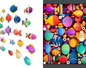 Cartoon Fish Pack 2 3D asset