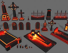 3D asset game-ready tombstone set