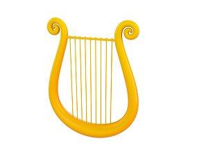 3D Golden Harp