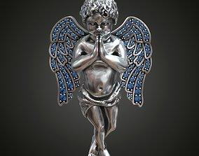 3D print model Pendant angel pray wings gems