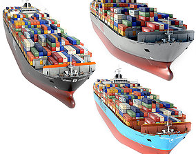 Container ship collection 3 color options 3D model