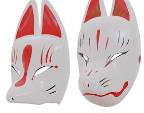 Kitsune masks 2in1 Noh Theatre Mask Japanese 3D model