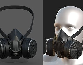 Gas mask protection futuristic fantasy human 3D model 1