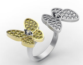 Ring Twin Butterflies 3D print model