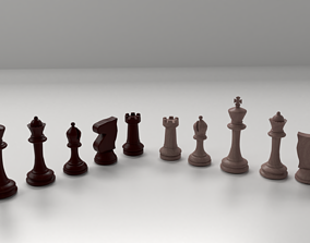 3D Wooden Chess Pieces