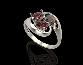 3D print model Ring with gems sapphire
