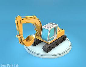 Low Poly Excavator 3D asset