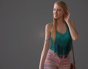3D model Girl walking wearing green top and bag