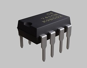 3D model Microchip - IC DIP 8 pin - Electronic parts