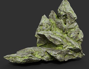 Low poly Mossy Rock Formation 17 190416 3D asset