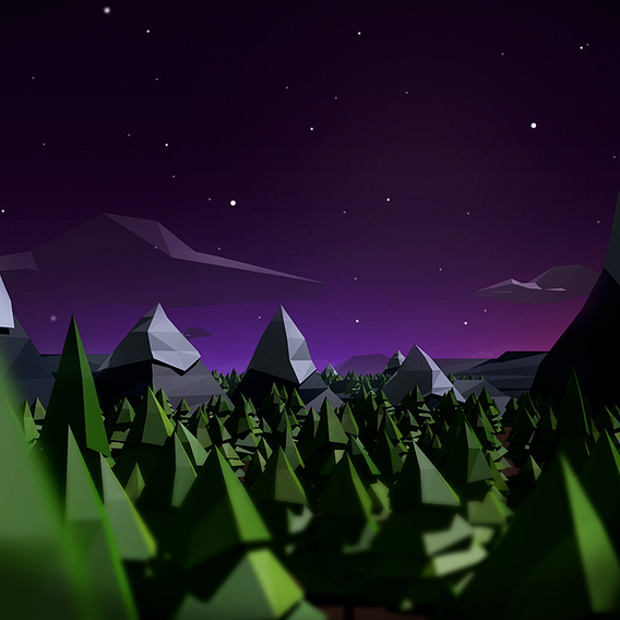 Low Poly Night Forest