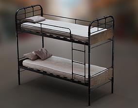 PBR Bunk Bed with Mattress and Pillows 3D asset game-ready