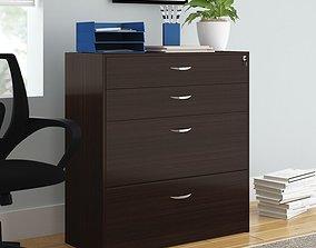 Wenge Bercut 4 Drawer Storage and Filing Cabinet 3D model