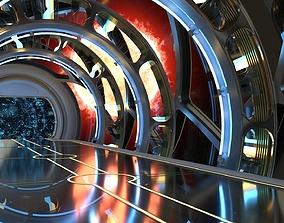 3D model hangar Sci Fi corridor with sun and stars