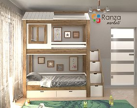 Kids room design 3d scene realistic ready