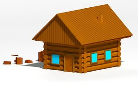 3D model Cartoon low poly wooden cottage